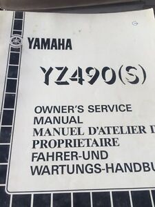 1986 Yamaha YZ490S Owners Service Manual