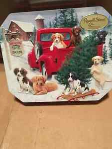 Russell Stover Dog Scene Christmas Tin