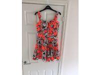Orange floral summer dress