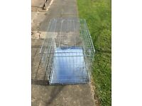 Large silver dog crate