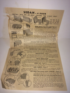 NOS Antique car seat covers 4 Door Sedan 1938- 41 original box