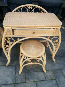wicker vanity set