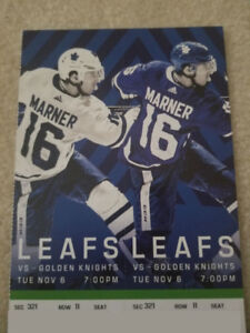 Golden Knights vs Maple Leafs - Tues. Nov 6th, 7:00 PM
