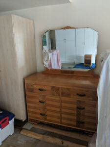 Solid Wood Dresser with Mirror & Night Table
