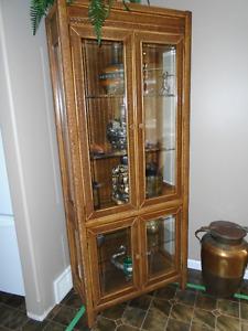 Beautiful Wicker & Wood Display Cabinet