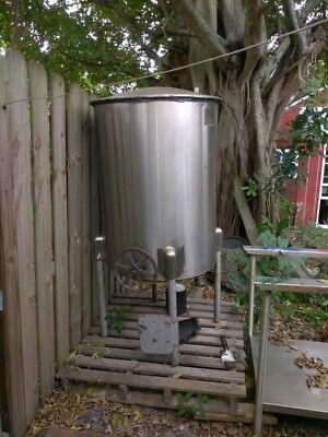 100 Gallon Sanitary Stainless Steel Tank Slant Bottom Mix Or Storage