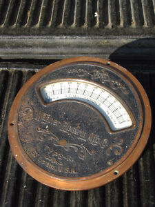 "Rare Antique Large 10"" Industrial D.C. Gauge  Wagner Electrical"