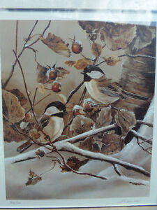 Winter Chickadees Signed numbered Original Print! Lovely! London Ontario image 2