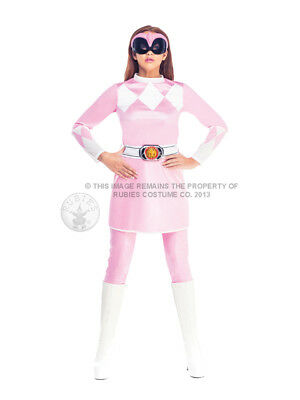 Adult Pink Power Ranger Fancy Dress Costume Superhero Ladies Womens Female BN