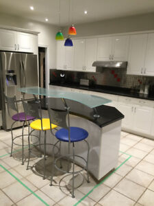 Chic glass top reception , island  or beverage bar