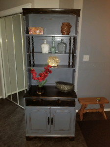 REDUCED PRICE two piece hutch refinished