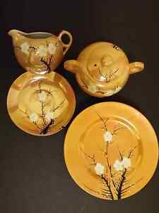 1940's Japanese Gold Luster Ware Cherry Blossom Pieces