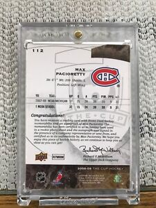 Max Pacioretty 2008-09 Cup rookie auto patch 056/249 hockey Card Kingston Kingston Area image 2