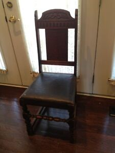 Antique Wood Leather Chair Seat Sitting Old Carved Furnish Room