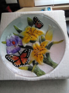 Butterfly and flowers glass plate for sale.