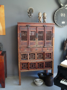 Fine Antique Chinese Wood Cabinet Carved 19th Century