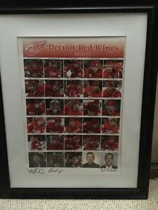 Detroit Redwings autographed framed team picture