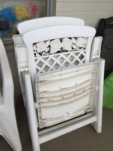 2 Large Folding Plastic Lawn Chairs