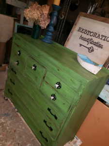 ANTIQUE GREEN SIDEBOARD