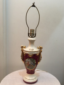 Vintage Ceramic Table Lamp, hand painted with gold trim