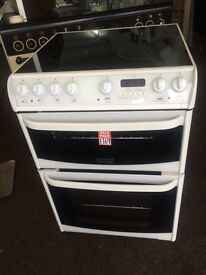White cannon 60cm ceramic hub electric cooker grill & fan oven good condition with guarantee