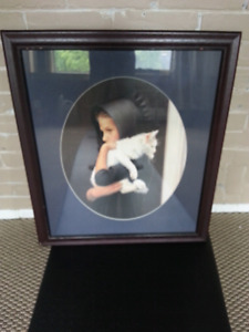 Amish Girl Cat Painting Framed