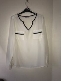 Ladies chiffon white blouse with black detailed pockets