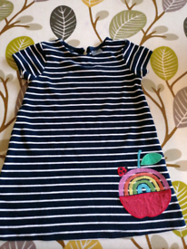 Next 9-12 months Navy and White striped dress.