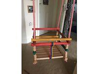 Wooden indoor/outdoor rope swing with bar