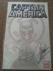 Captain America Blank Variant Cover with Original Drawing on it