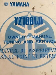 1982 Yamaha YZ100J Owners Manual Tuning and Service