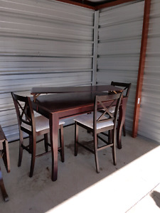 Espresso pub table with 3 chairs