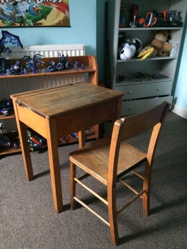 Vintage Kids Wooden School Desk And Chair Primary Age