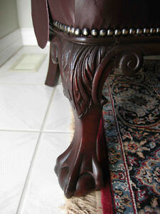 antique cherry wood sofa carved dolphins new leather Oakville / Halton Region Toronto (GTA) image 5