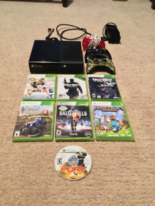Xbox 360, controllers, and a couple games
