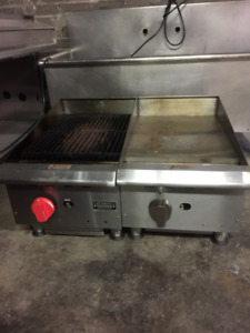 Commercial triple sink, bar sink, flat grill and charbroiler