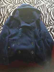 Blue bomber-style button-up light coat, NEVER WORN $7.00