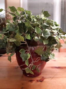 Red ceramic planter with silk ivy