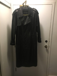 leather trench coat lambskin men's (full length)