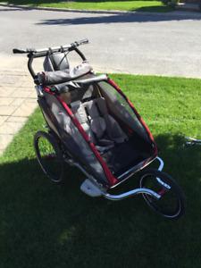 Chariot double CX 2 avec ski-attache vélo-roues de course