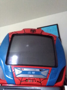 13 inch spiderman TV with built in DVD player