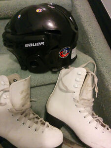 Skates size 1 and helmet for 8yrs old kid