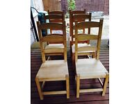 Pine dining room chairs, 10 available