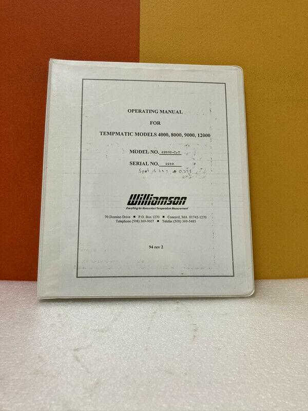Williamson Tempmatic Models 4000, 8000, 9000, 12000 Operating Manual