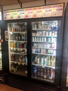 "MERCHANDISER REFRIGERATOR - DOUBLE GLASS DOORS, 54"" WIDE"