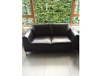 Dark Brown Faux Leather Sofa (used)