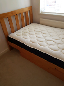 Small Double Bed with Mattress and under bed drawer