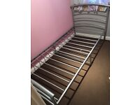 Metal single bed and mattress