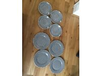 Black and white check (Gingham) crockery - set of plates and saucers