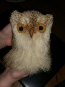 Hand-made genuine Arctic Hare-fur owl doll